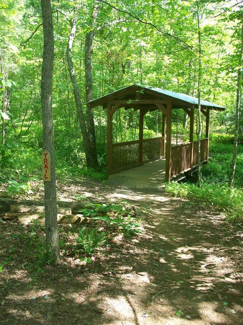 Unique covered bridge on the trail