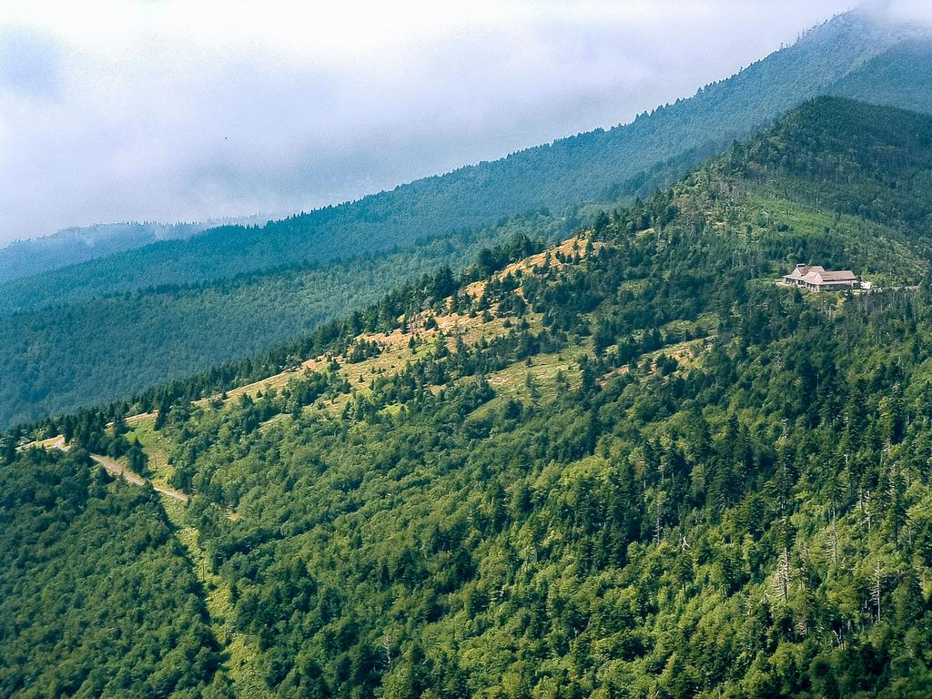 The Mount Mitchell Restaurant perched above forest and open fields below.