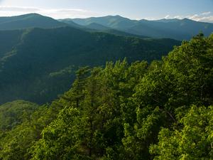 View toward Mount Mitchell, highest mountain in the Eastern U.S., from Kitsuma Peak near I-40.