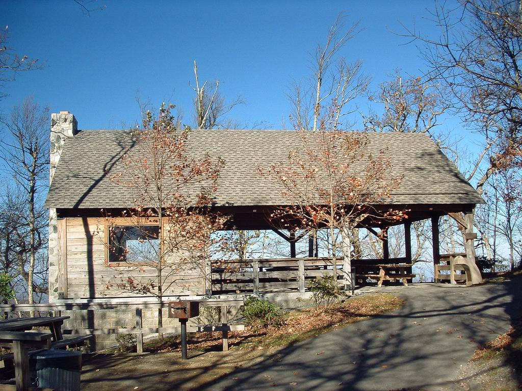 Picnic area and shelter near the summit.