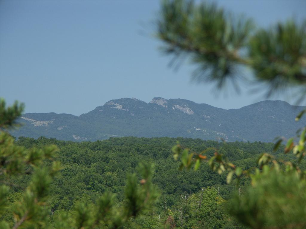 View of Grandfather Mountain from the overlook at South Harper Creek Falls.