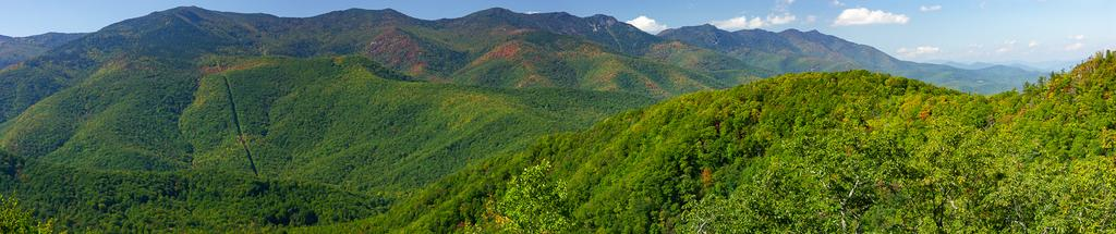 Panaorama of the Black Mountains from the Blue Ridge Parkway east of the range.