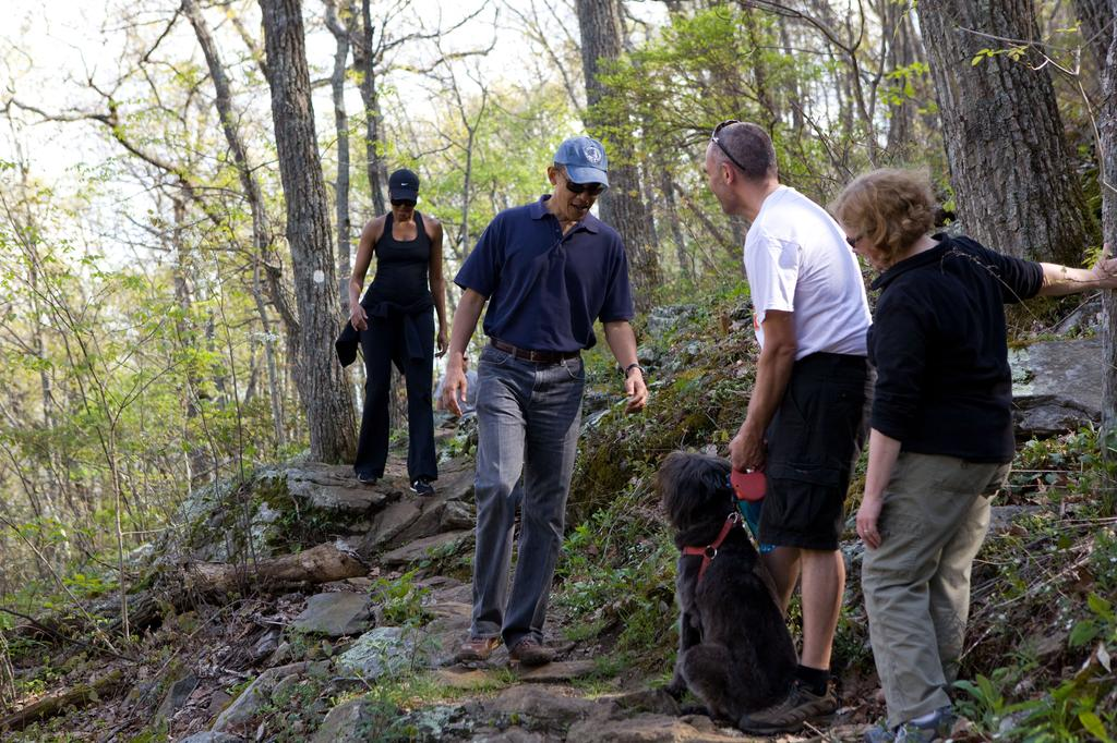 The Obamas hiking the Mountains to Sea trail near Craven Gap on their visit in April 2010.