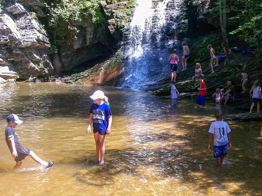 Kids can hardly resist a splash in the creek at the end of a long hike!
