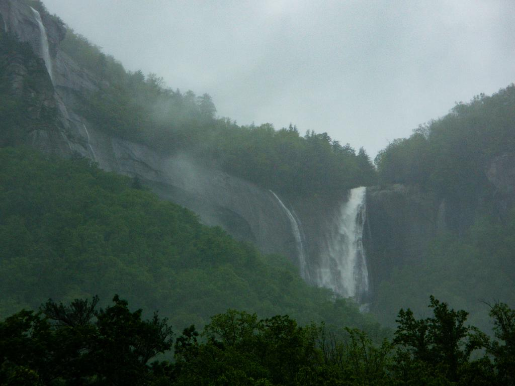 Hickory Nut Falls and surrounding cliffs in high water
