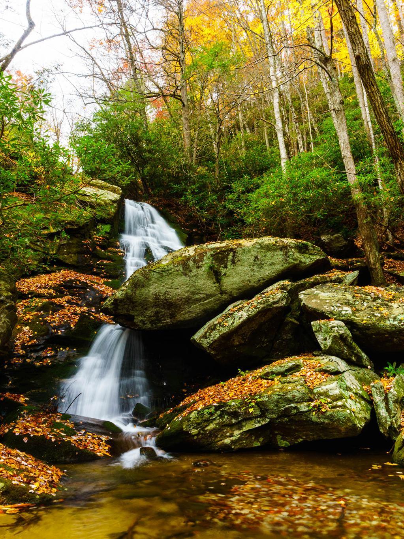 The upper drop of Little Lost Cove Creek Falls.