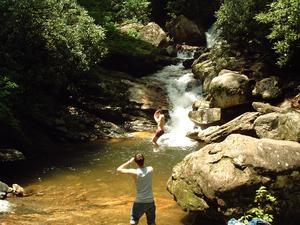 Swimming at Skinny Dip Falls