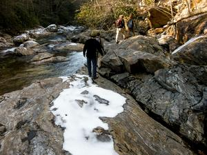 Big East Fork Hike on Rock