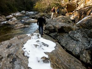 Big East Fork Hike on Rock