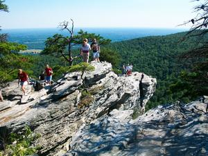 People on Hanging Rock