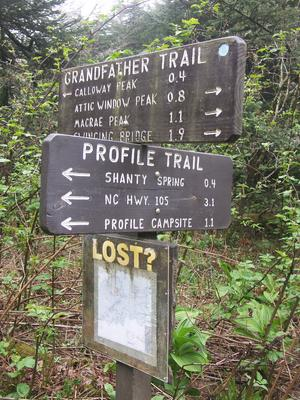 Profile and Grandfather Trail Intersection Sign