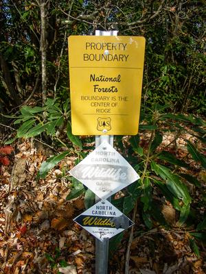 Boundary Signs on the Turkey Pen Gap Trail