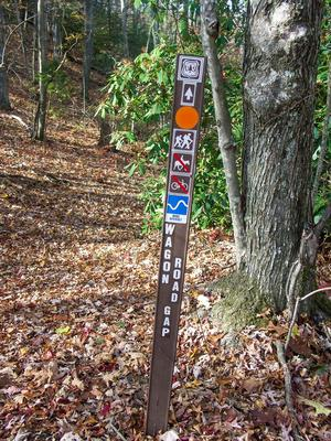 Sign at the Top of the Wagon Road Gap Trail