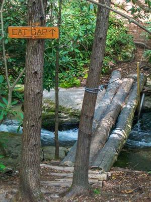 Cat Gap Loop Trail Sign and Bridge