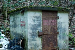 Old Explosives Shed beside Pump Gap Loop Trail