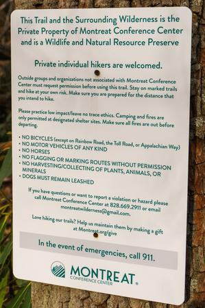 Montreat Hiking Signs