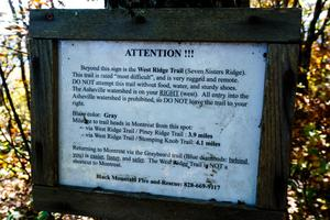 West Ridge Trail Warning Sign