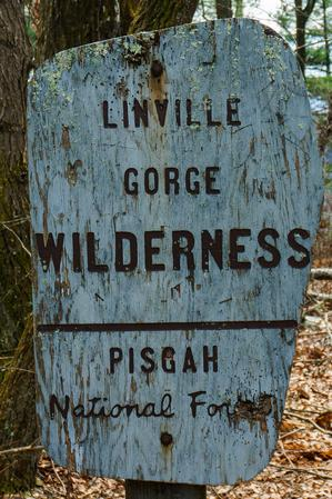 Old Linville Gorge Wilderness Sign