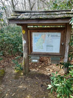 Sign Board at the Start of Stomping Knob Trail